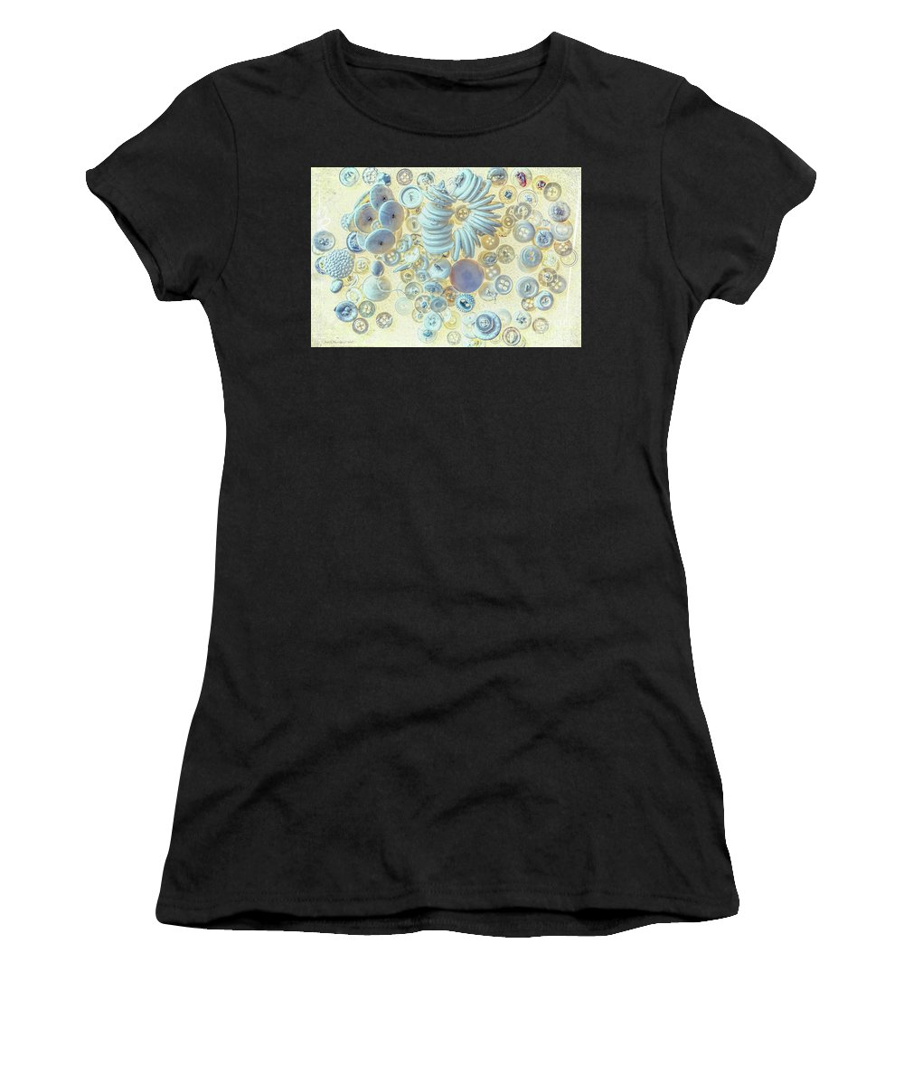 Button Women's T-Shirt (Athletic Fit) featuring the photograph A Seamstress Treasure by Jean OKeeffe Macro Abundance Art