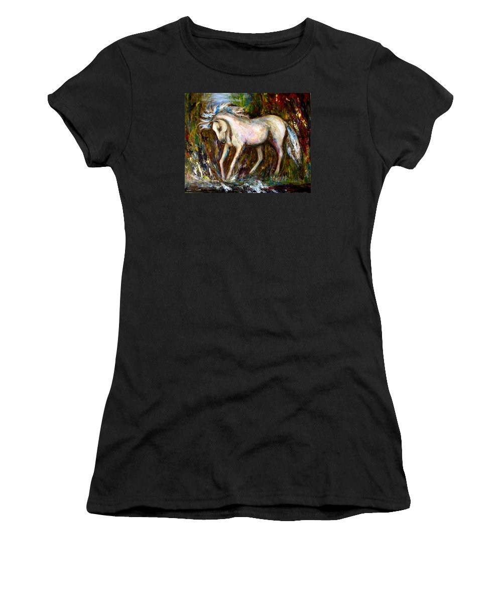 Horse Painting Women's T-Shirt (Athletic Fit) featuring the painting A Secret Place White Hores Painting by Frances Gillotti