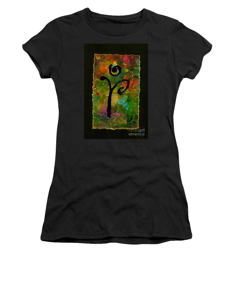 Green Women's T-Shirt featuring the mixed media A Simple Wish by Angela L Walker