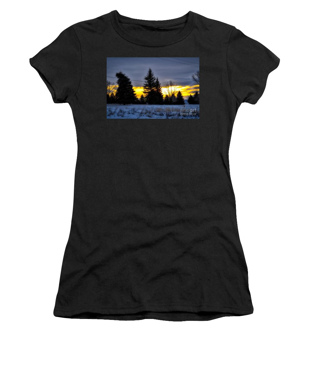 Sunrise Women's T-Shirt featuring the photograph A Sleepy Morning Sunrise by James Stewart