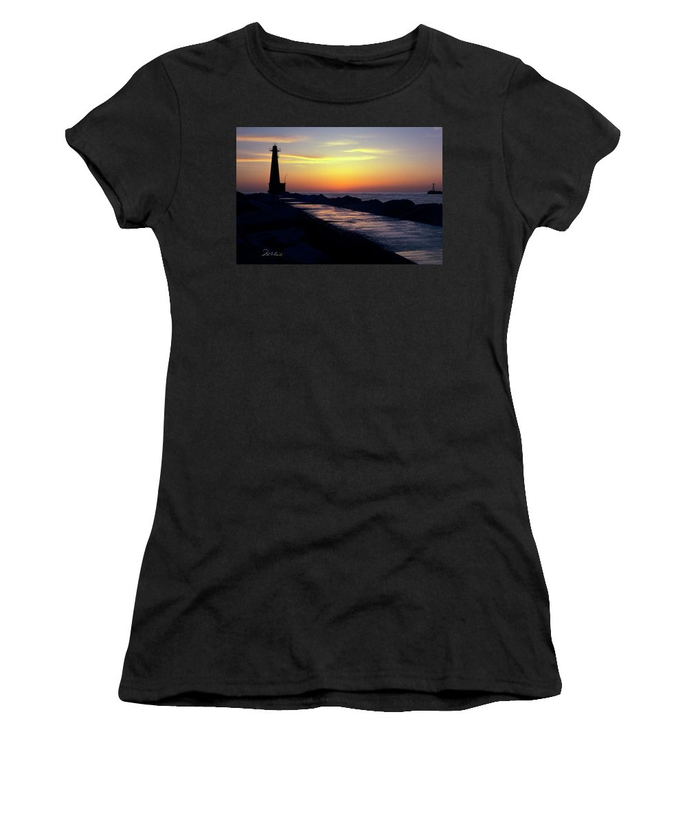 Color Women's T-Shirt (Athletic Fit) featuring the photograph A Sliver Of Sunset by Frederic A Reinecke