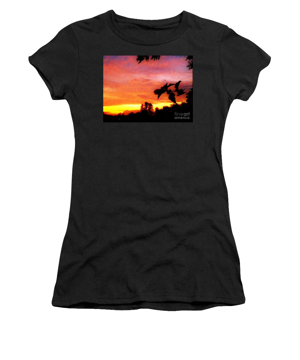 Orange Women's T-Shirt (Athletic Fit) featuring the photograph A Sunset With A Different Mood by Debra Lynch