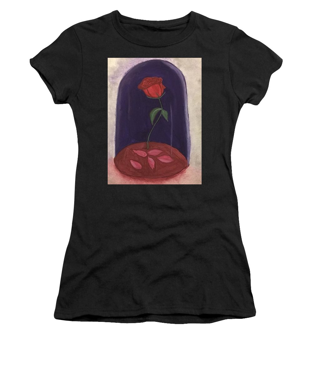 Beauty And The Beast Women's T-Shirt (Athletic Fit) featuring the painting A Tale As Old As Time.... by Kaitlin Rediger