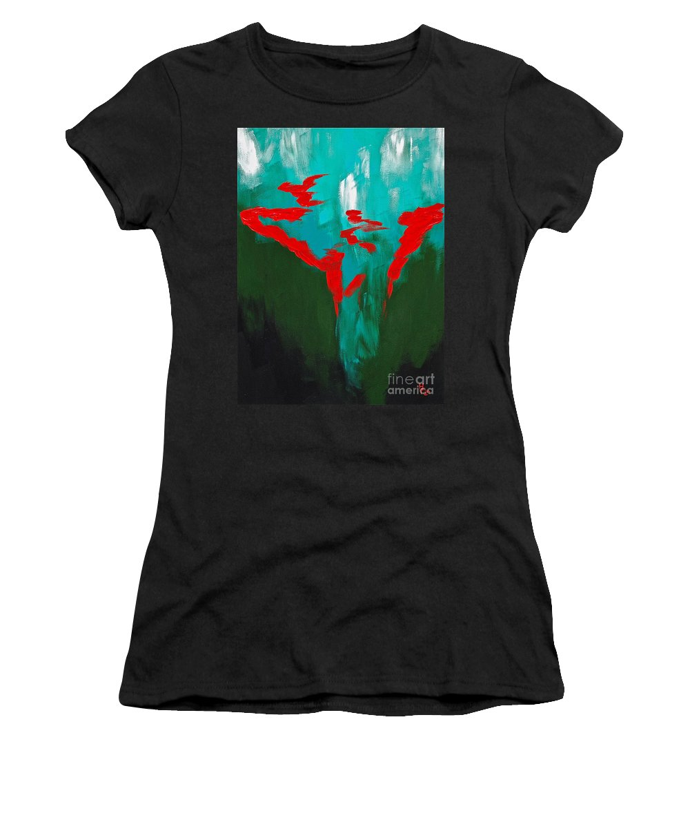 Abstract By Herschel Fall Red And Green Hot Women's T-Shirt (Athletic Fit) featuring the painting A Touch Of Red by Herschel Fall