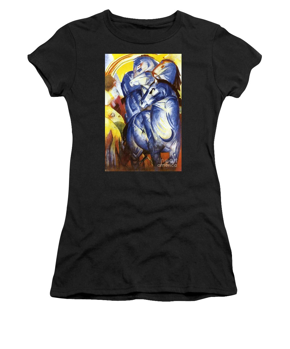Tower; Blue; Horse; Horses; Equine; Expressionist; Expressionism; Group; Five; Rainbow; Semi-abstract Women's T-Shirt (Athletic Fit) featuring the painting A Tower Of Blue Horses by Franz Marc