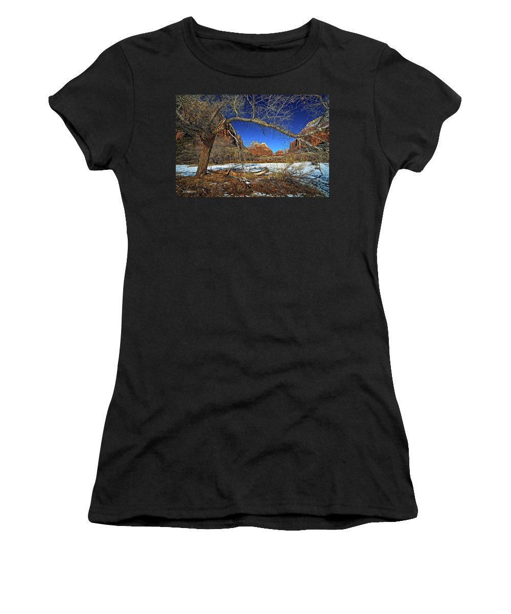 Zion Canyon Women's T-Shirt featuring the photograph A View In Zion by Christopher Holmes