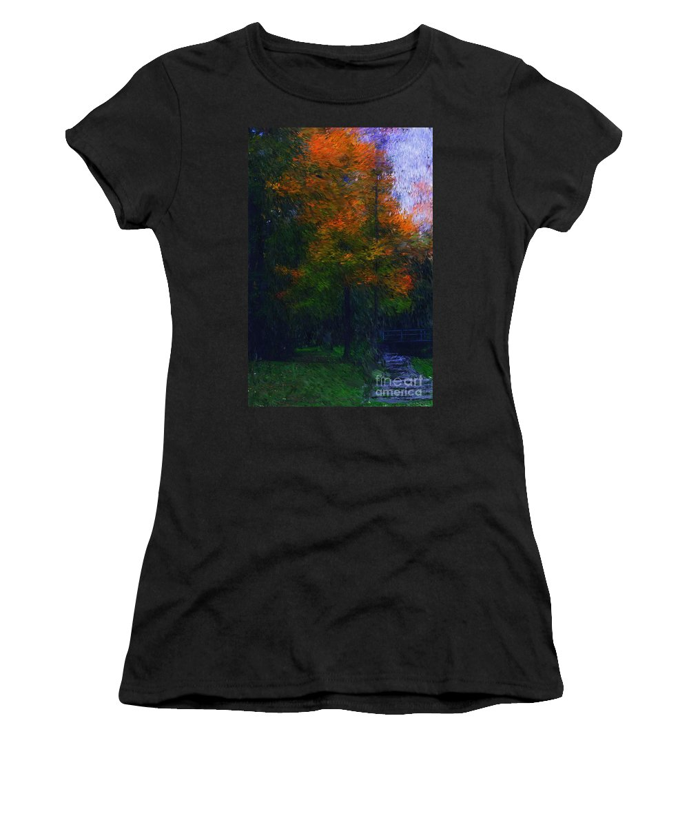 Autumn Women's T-Shirt (Athletic Fit) featuring the photograph A Walk In The Park by David Lane