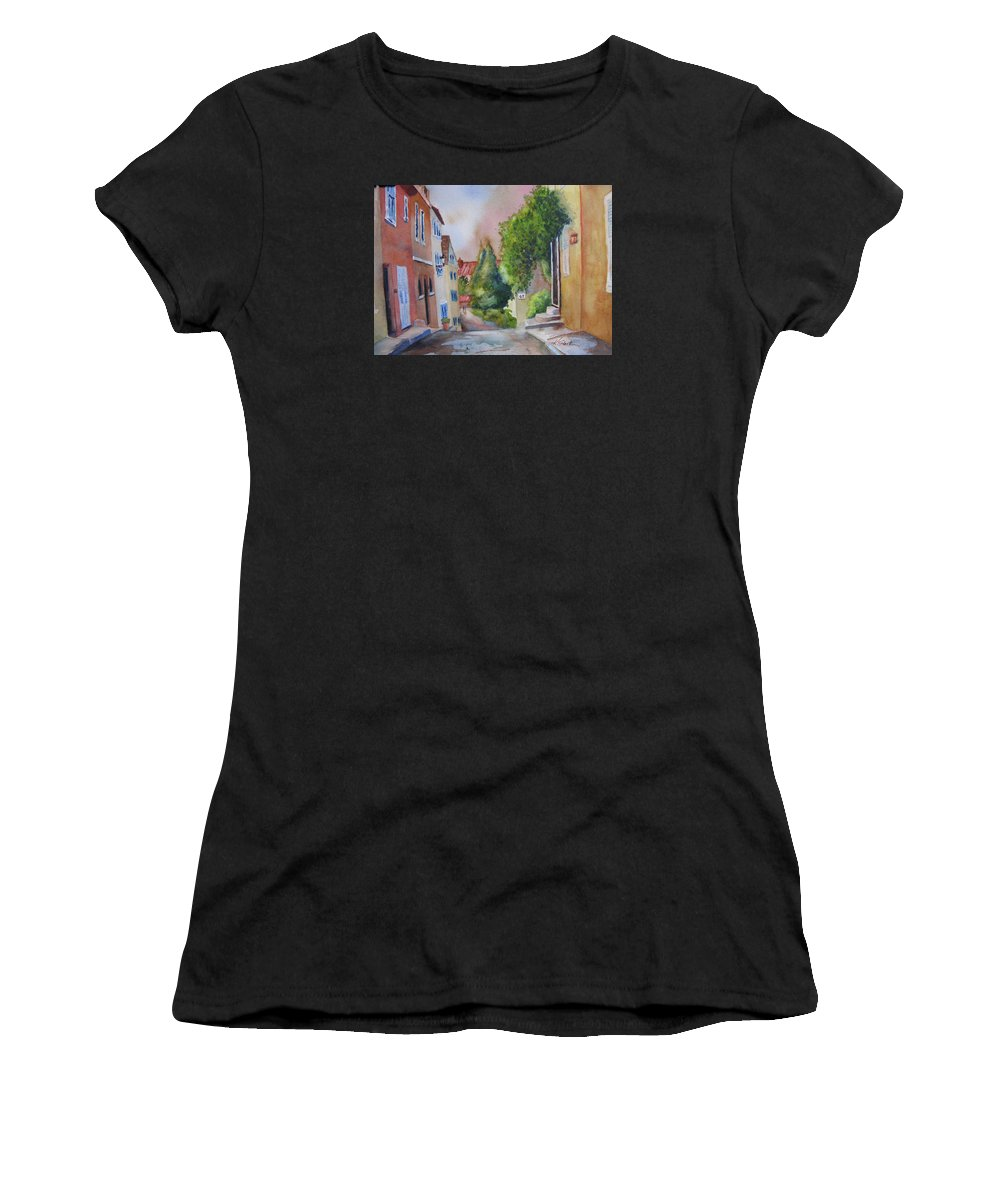 Cityscapes. Architecture Women's T-Shirt (Athletic Fit) featuring the painting A Walk In The Village by Karen Stark
