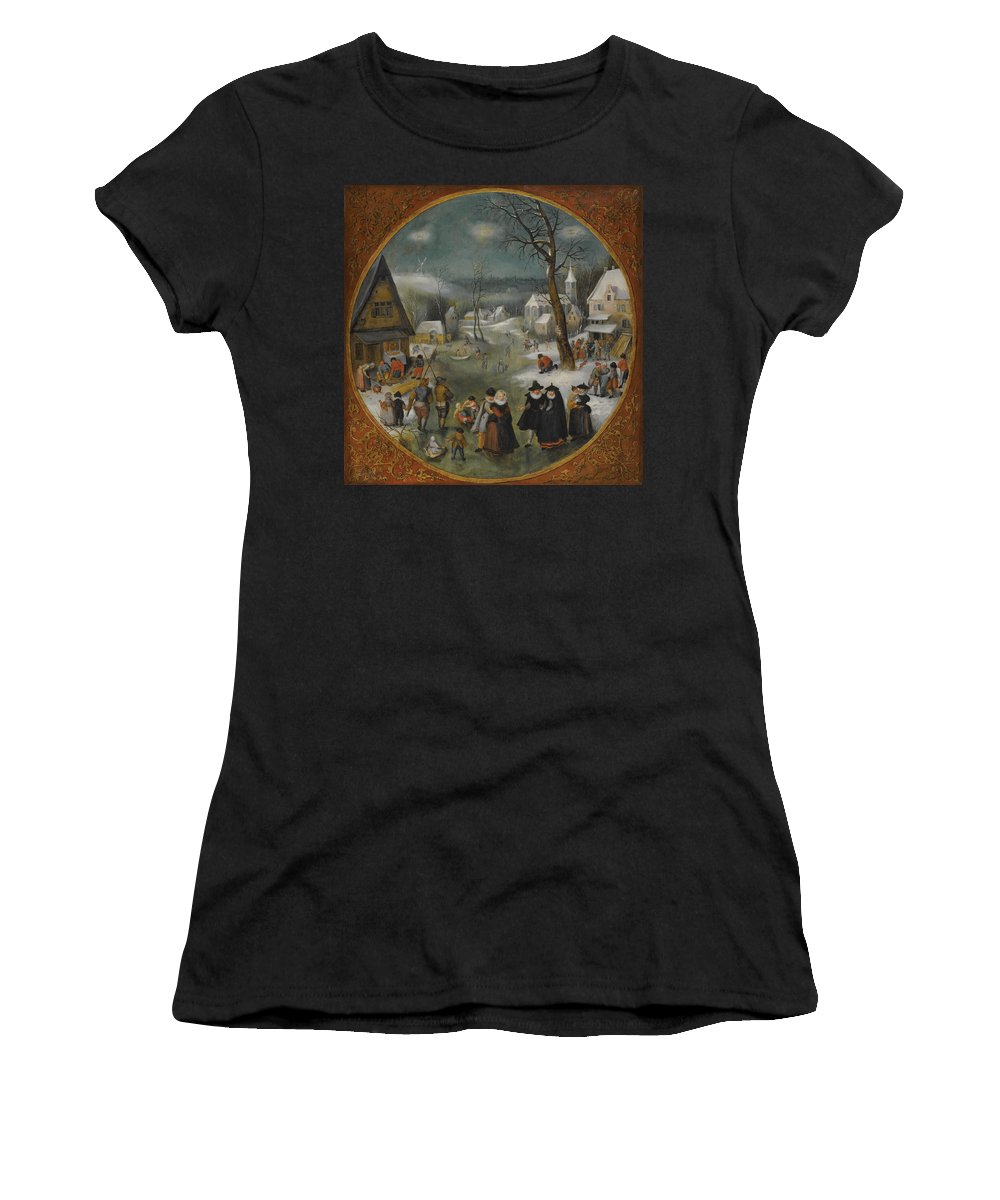 Workshop Of Jacob Grimmer Women's T-Shirt (Athletic Fit) featuring the painting A Winter Landscape With Figures Skating by Workshop of Jacob Grimmer