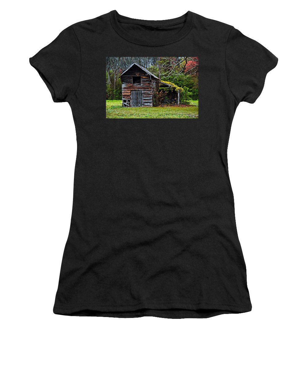 Barn Women's T-Shirt (Athletic Fit) featuring the photograph A Yellow Cover by Christopher Holmes