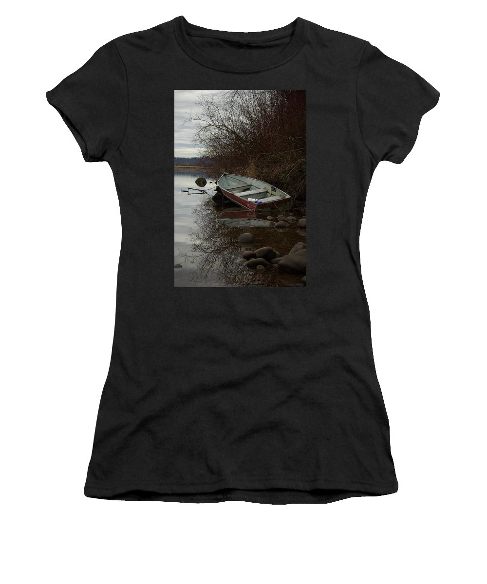 Abandoned Women's T-Shirt featuring the photograph Abandoned Boat by Cindy Johnston