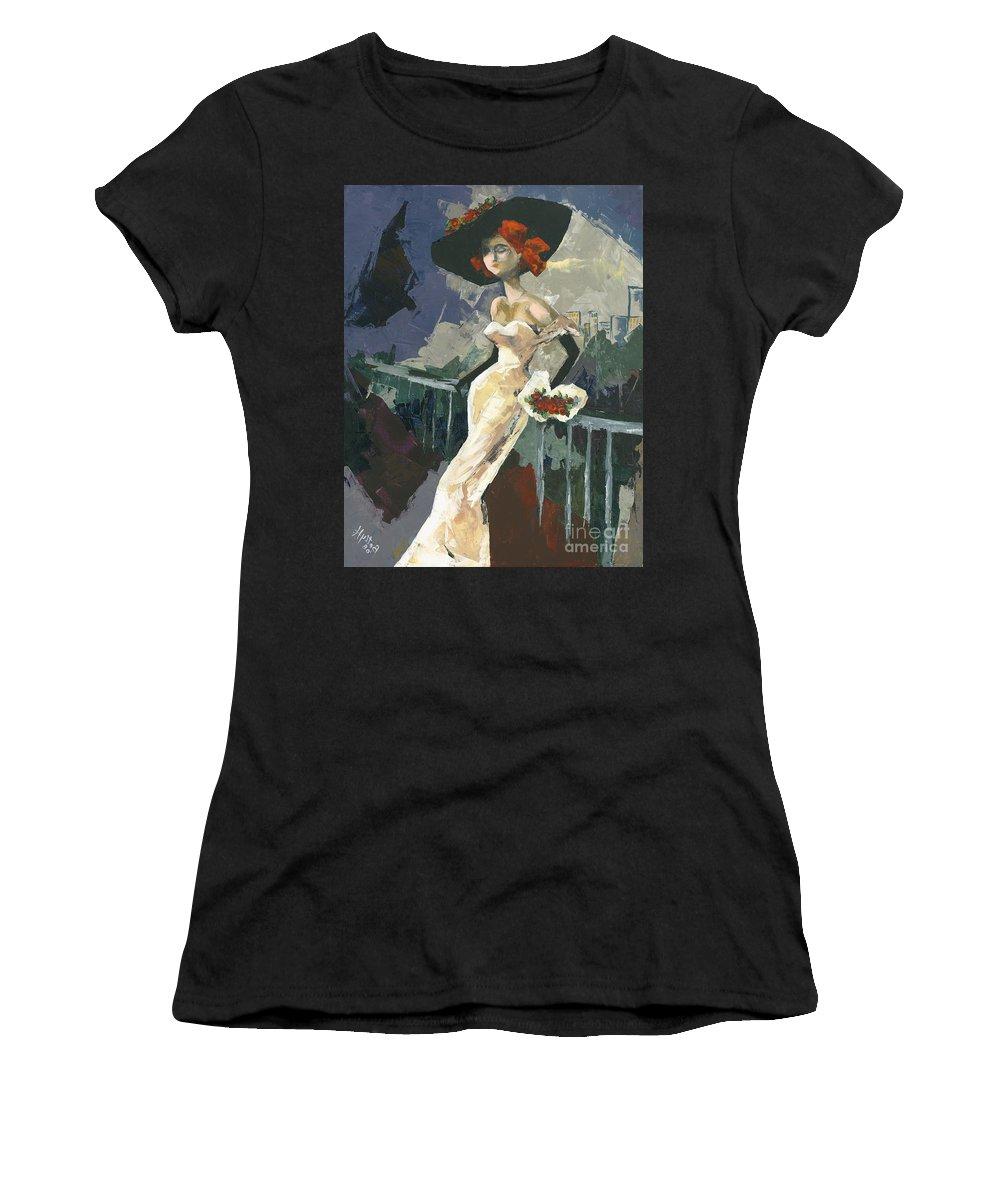 Acrylic Women's T-Shirt featuring the painting Abandoned by Elisabeta Hermann