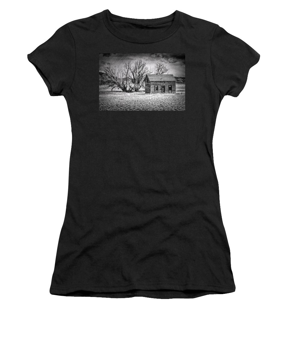 Wyoming Farm House Women's T-Shirt featuring the photograph Abandoned Farm House by Jack Chamberlin