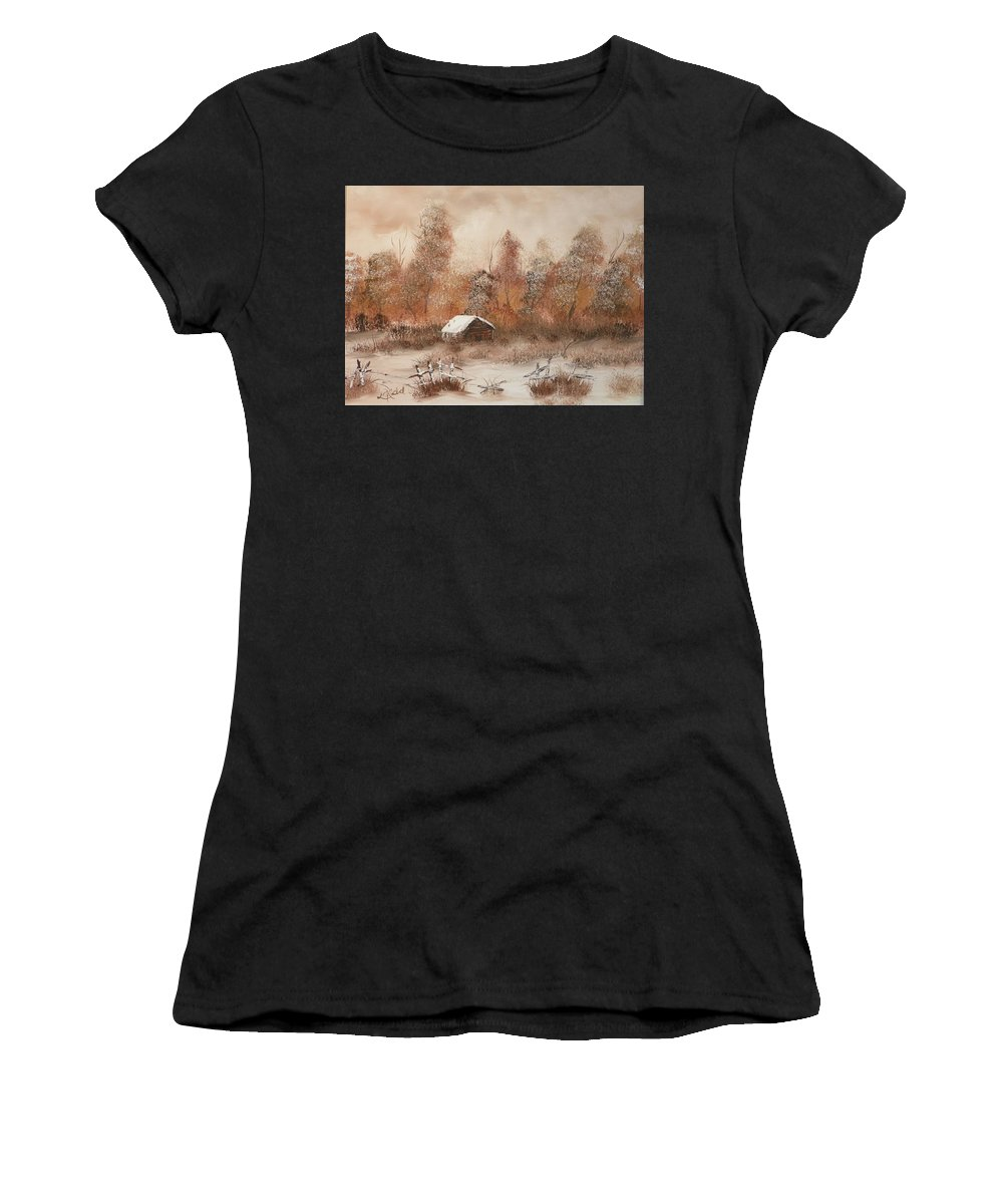Trees Women's T-Shirt (Athletic Fit) featuring the painting Abandoned by Laurie Kidd