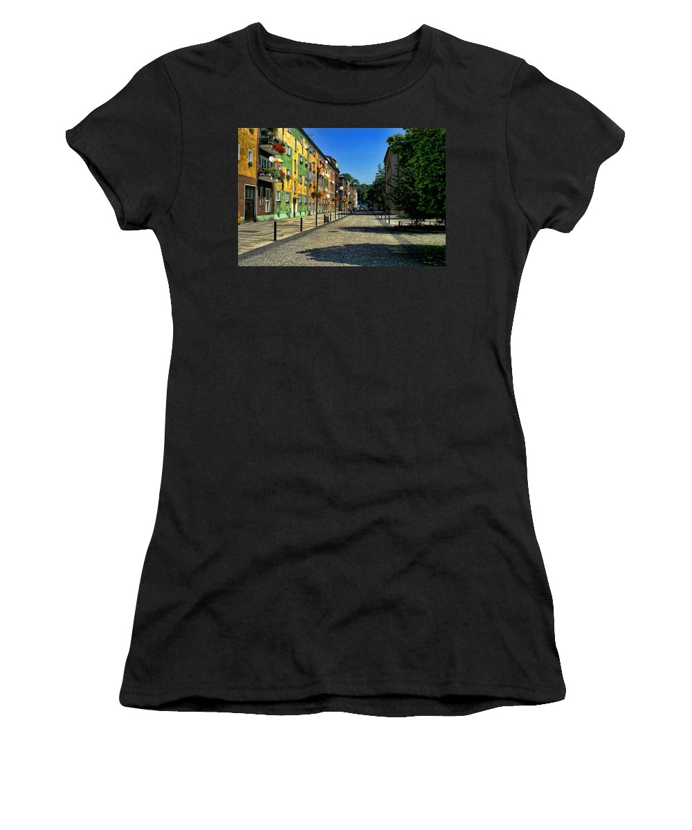 Quiet Women's T-Shirt (Athletic Fit) featuring the photograph Abandoned Street by Mariola Bitner
