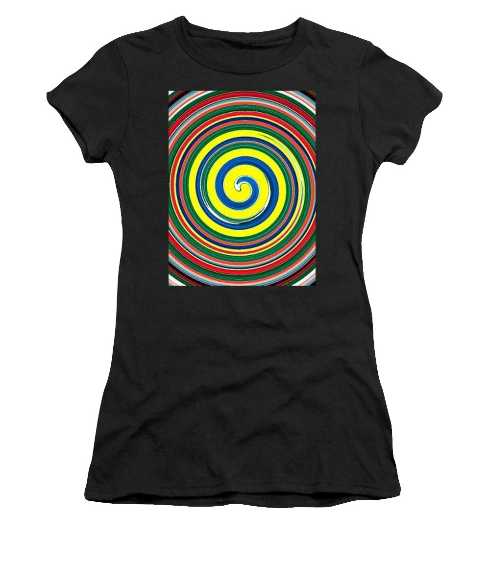 Digital Spiral Women's T-Shirt (Athletic Fit) featuring the painting Abb1 by Andrew Johnson