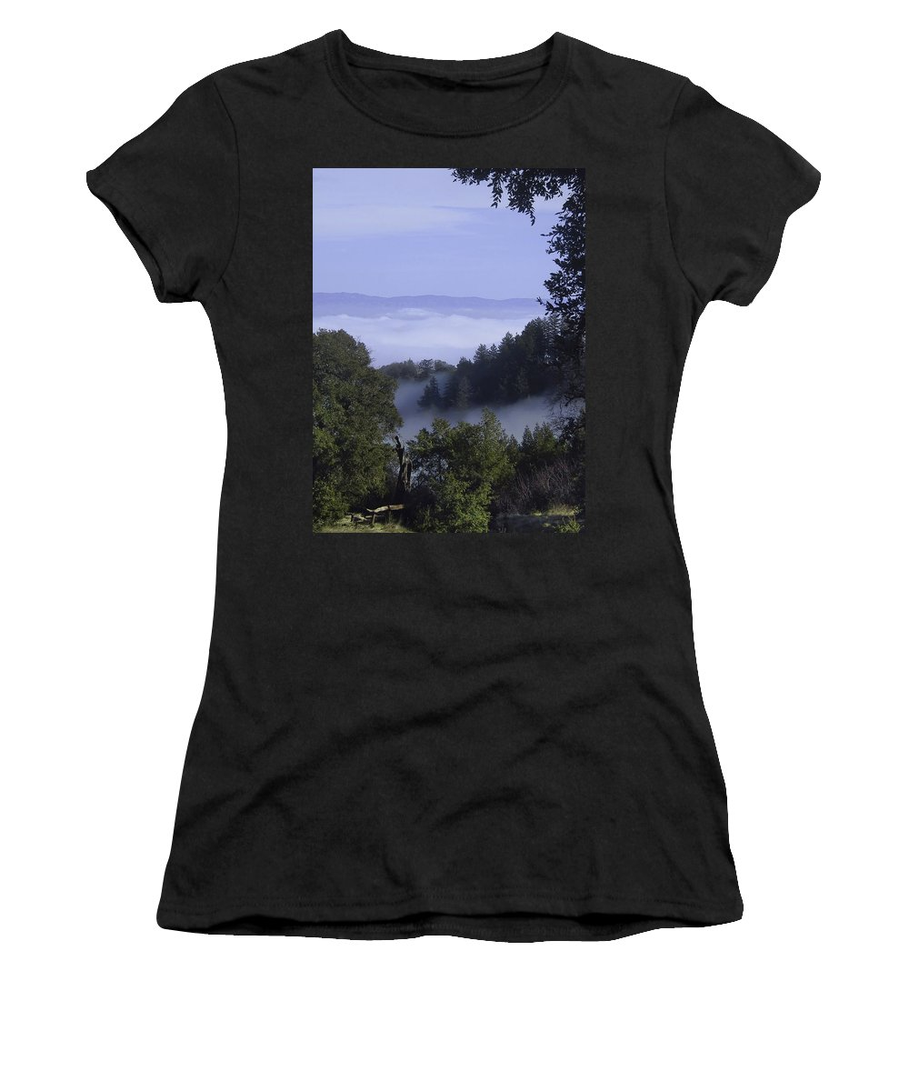 Lalndscape Women's T-Shirt (Athletic Fit) featuring the photograph Above The Clouds by Karen W Meyer