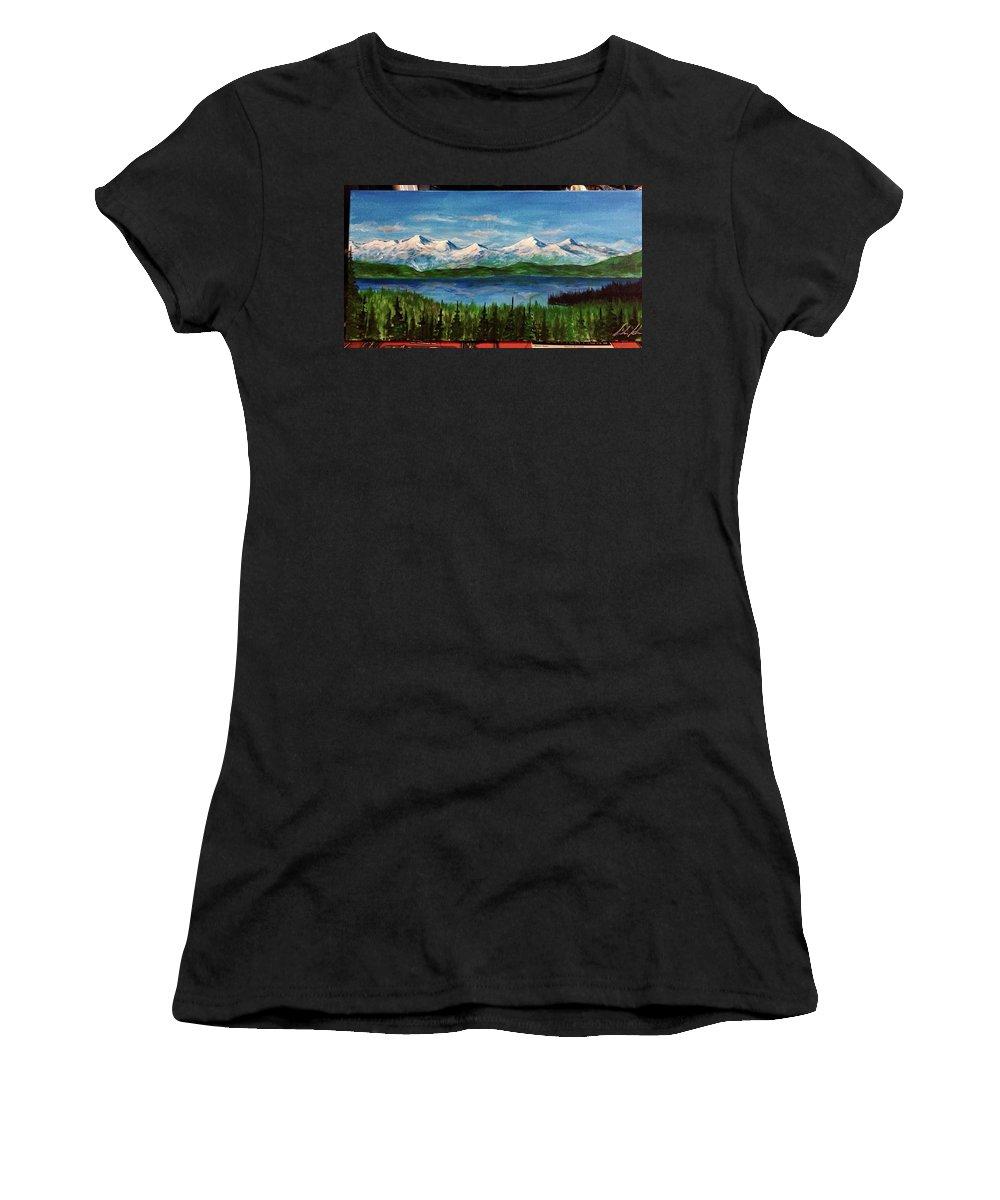 #flatheadlake #flathead #montana #montanaartist #mountains #lake #trees Women's T-Shirt featuring the painting Above The Flathead by Sarah Kleinhans