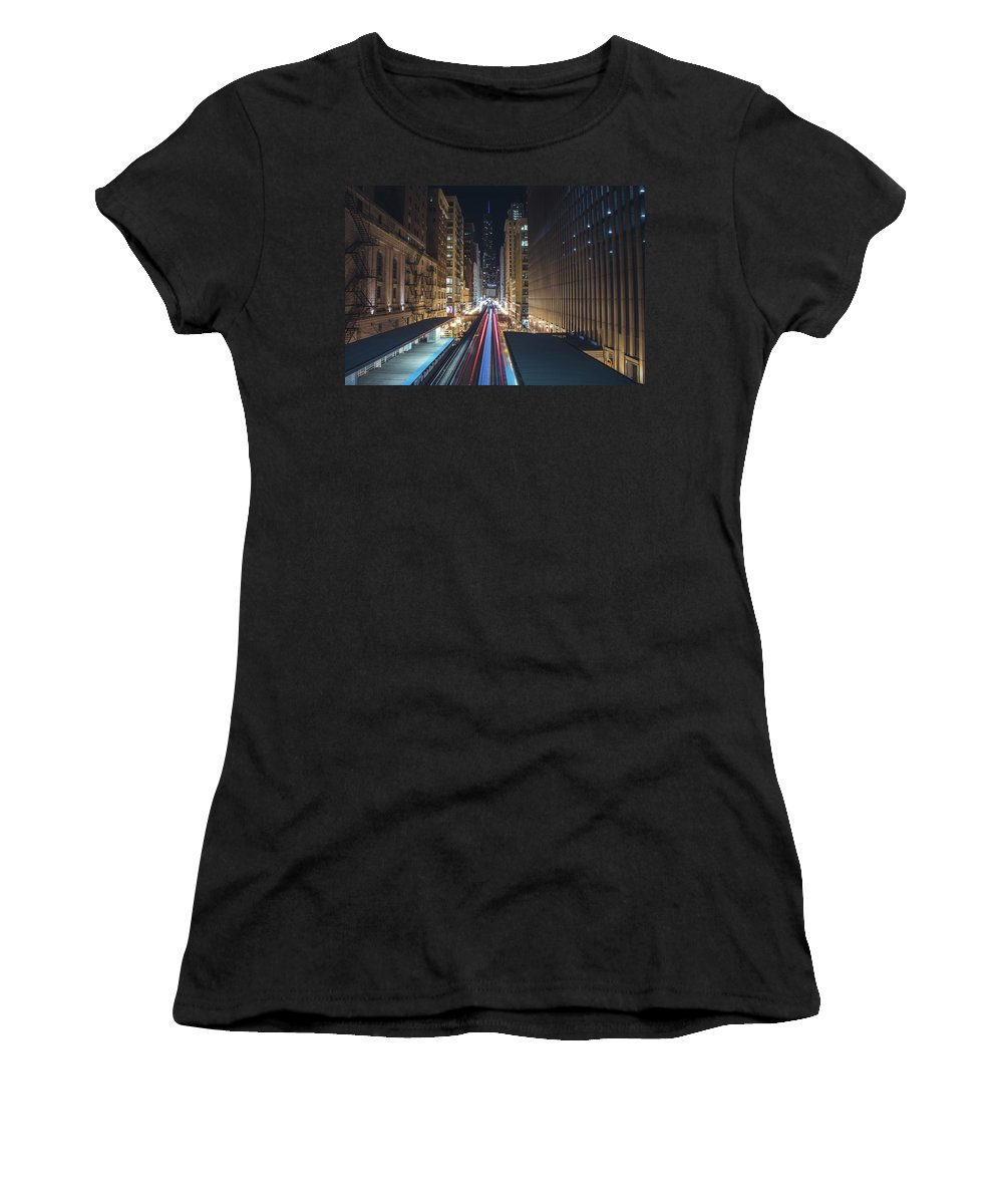 Chicago Women's T-Shirt (Athletic Fit) featuring the photograph Above The Loop Towards The Trump Tower by Jay Smith