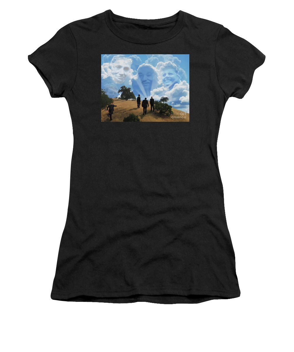 Canvas Prints Women's T-Shirt (Athletic Fit) featuring the digital art Abraham Martin And John by Joseph Juvenal