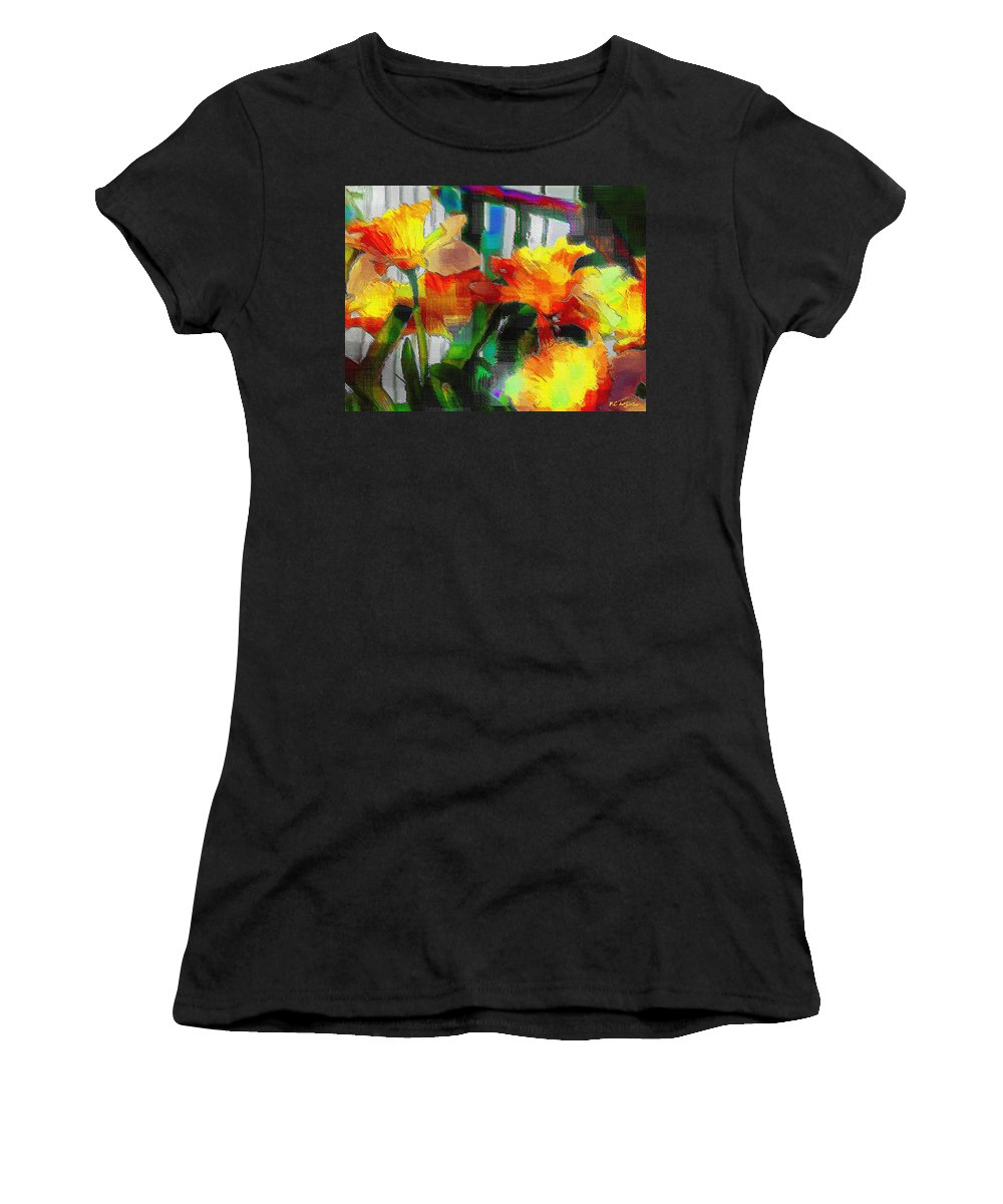 Absinthe Women's T-Shirt (Athletic Fit) featuring the painting Absinthe Daffies by RC DeWinter