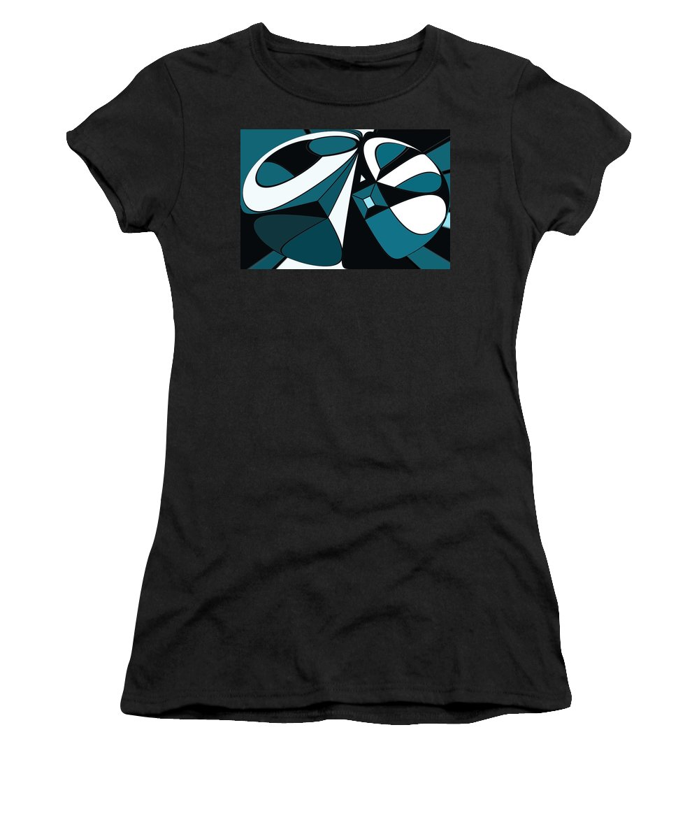 Abstract Women's T-Shirt (Athletic Fit) featuring the digital art Abstrac7-30-09-a by David Lane