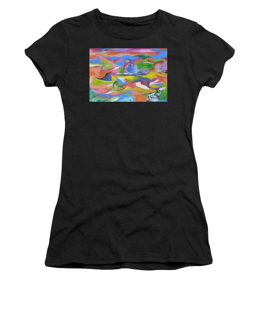 Painting Women's T-Shirt (Athletic Fit) featuring the painting Abstract 5 by Sebastian Ruiz Diaz