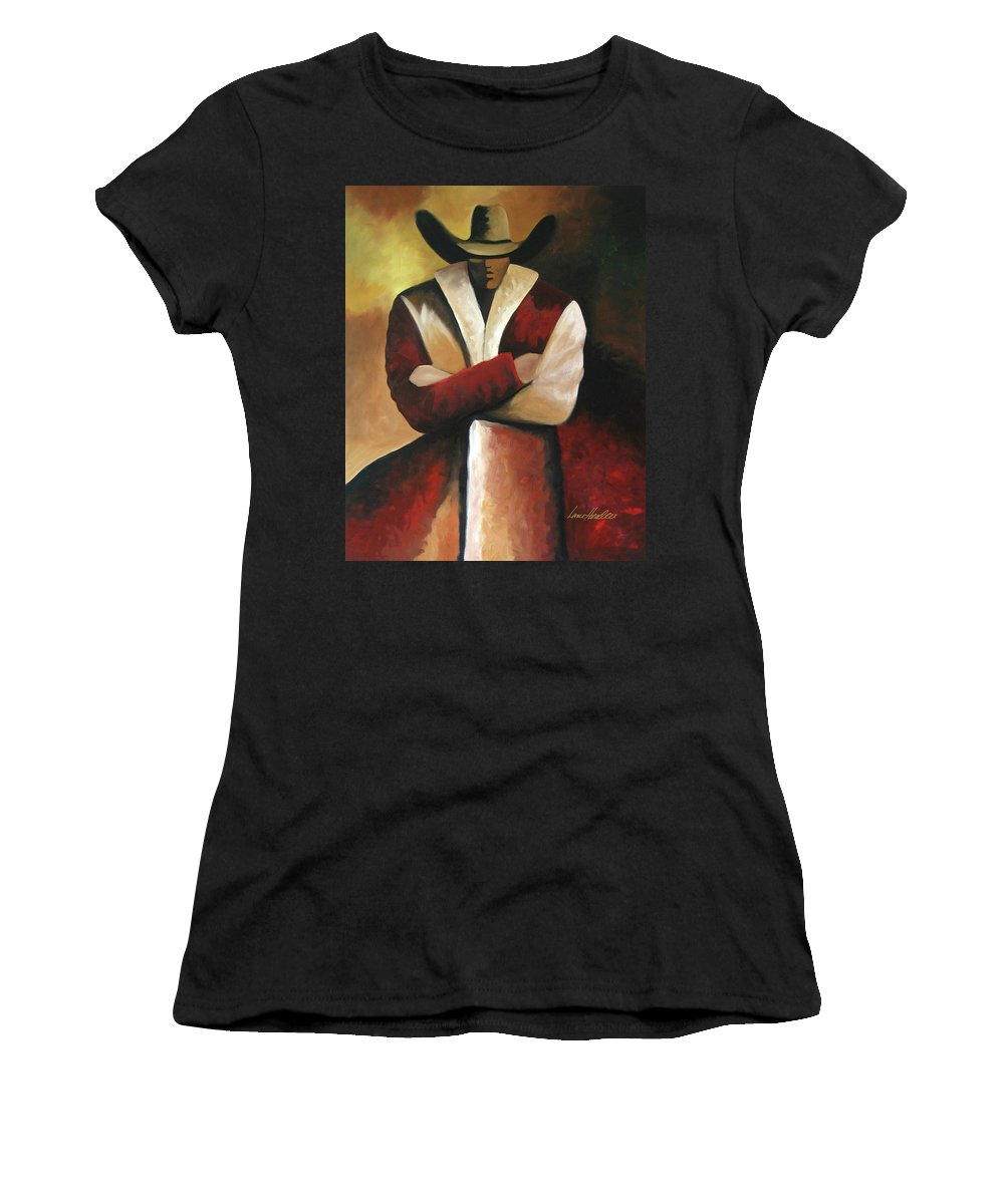 Women's T-Shirt (Athletic Fit) featuring the painting Abstract Cowboy by Lance Headlee