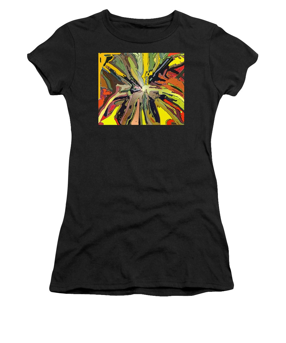 Abstract Women's T-Shirt (Athletic Fit) featuring the digital art Abstract Garden Defined by Ian MacDonald