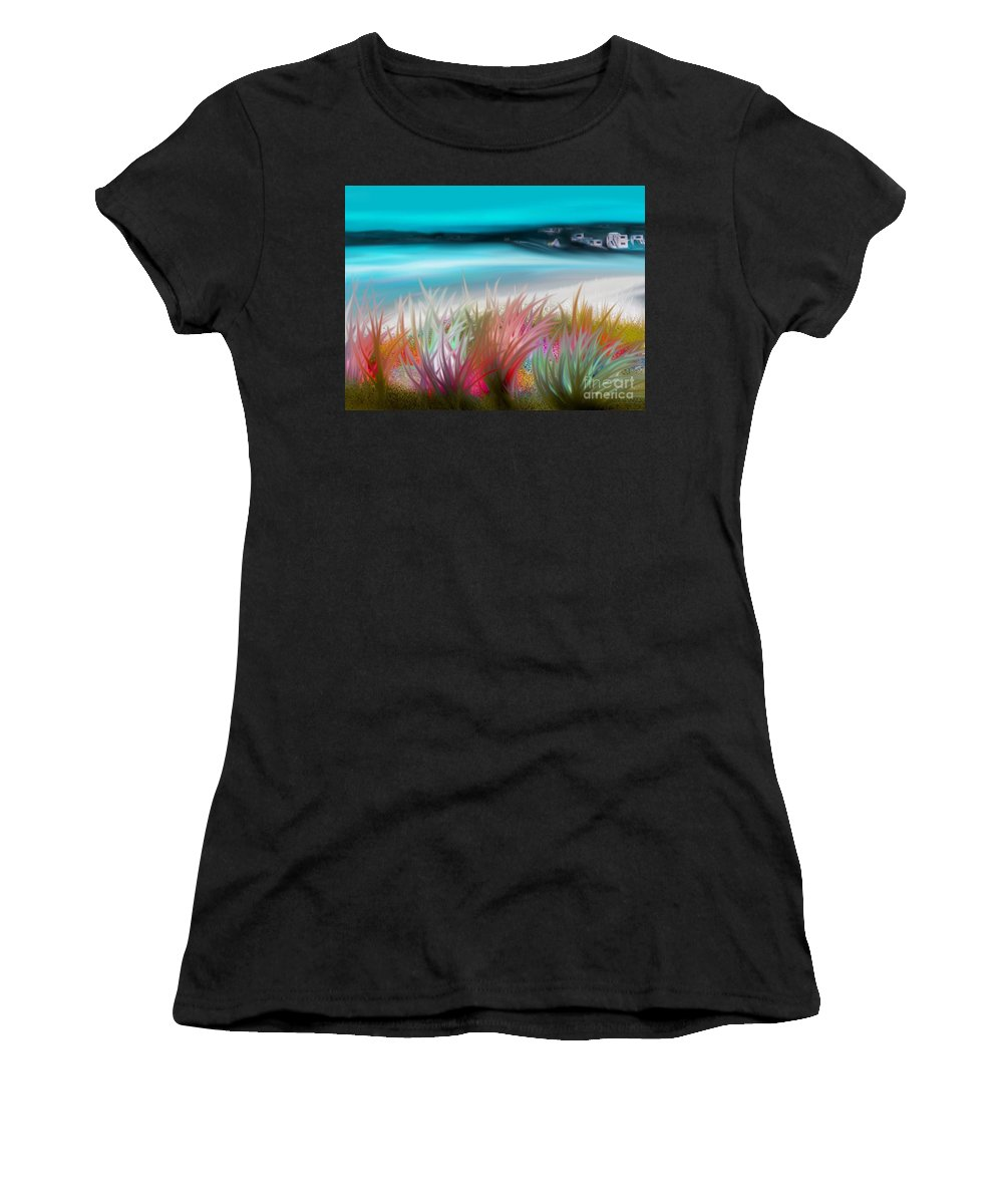 Original Women's T-Shirt (Athletic Fit) featuring the painting Abstract Grass Series 17 by ElsaDe Paintings