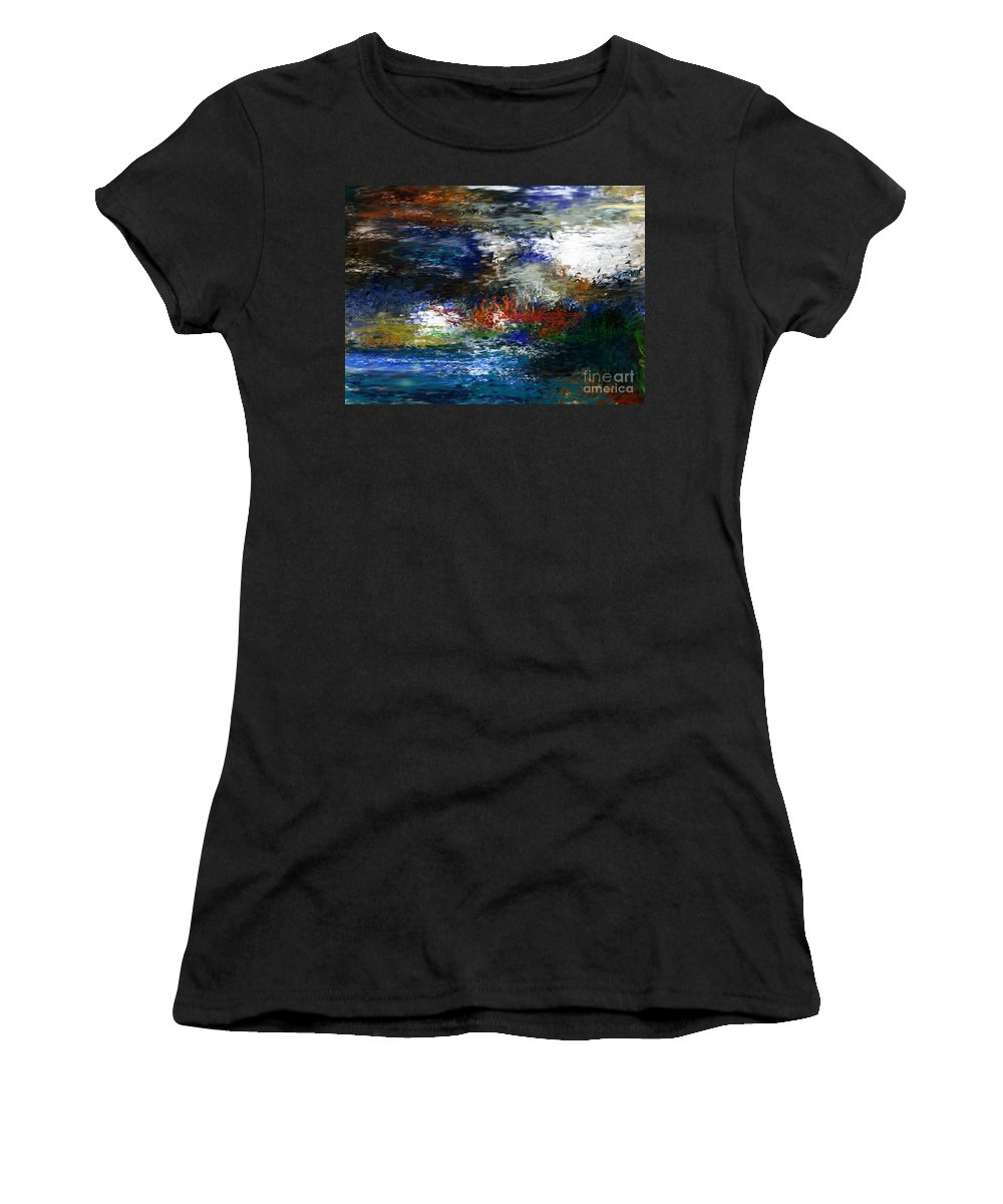 Abstract Women's T-Shirt (Athletic Fit) featuring the digital art Abstract Impression 5-9-09 by David Lane