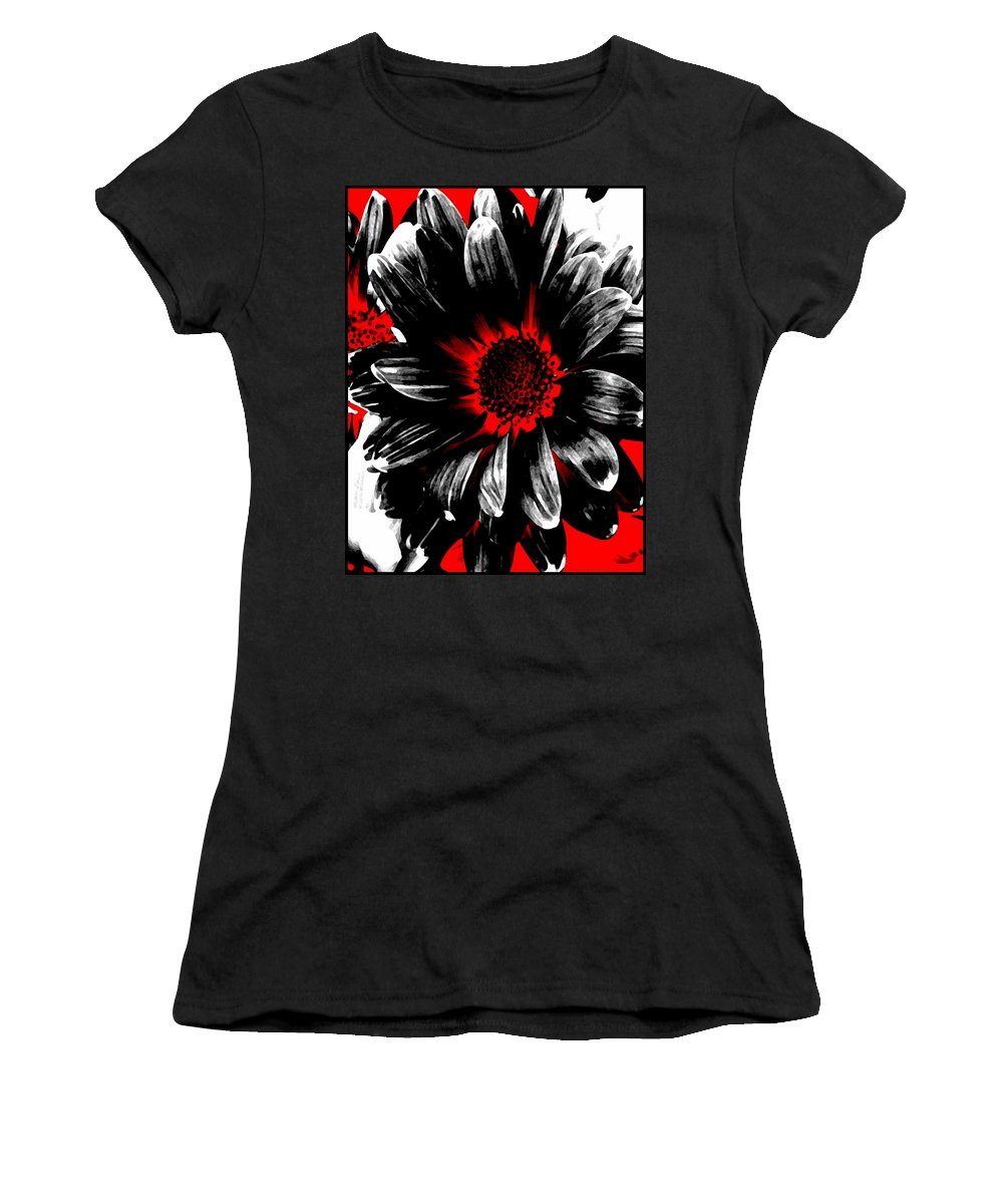 Abstract Women's T-Shirt featuring the photograph Abstract Red White And Black Daisy by Angelina Vick