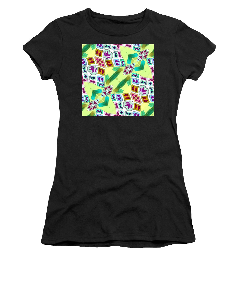 Yellow Women's T-Shirt (Athletic Fit) featuring the digital art Abstract Seamless Pattern - Yellow Green Purple Blue Gray White by Lenka Rottova
