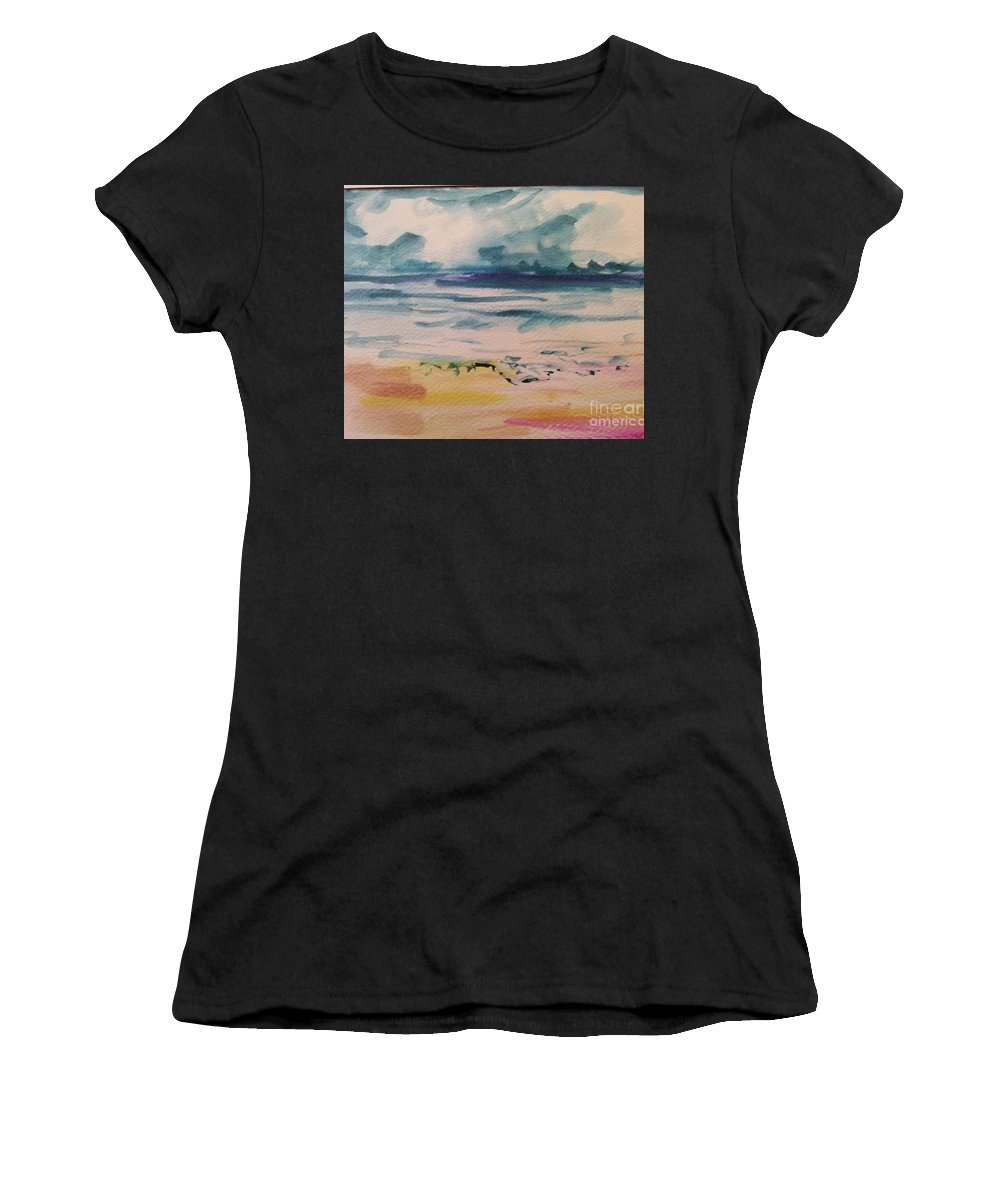 Sunset Ocean Sea Beach Seascape Waves Water Sunrise Women's T-Shirt featuring the painting Abstract Seascape by Patricia Ducher