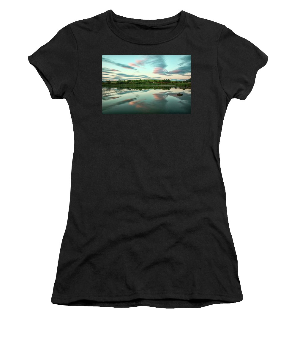 Abstract Women's T-Shirt featuring the photograph Abstract Sunset by Susan Tinsley