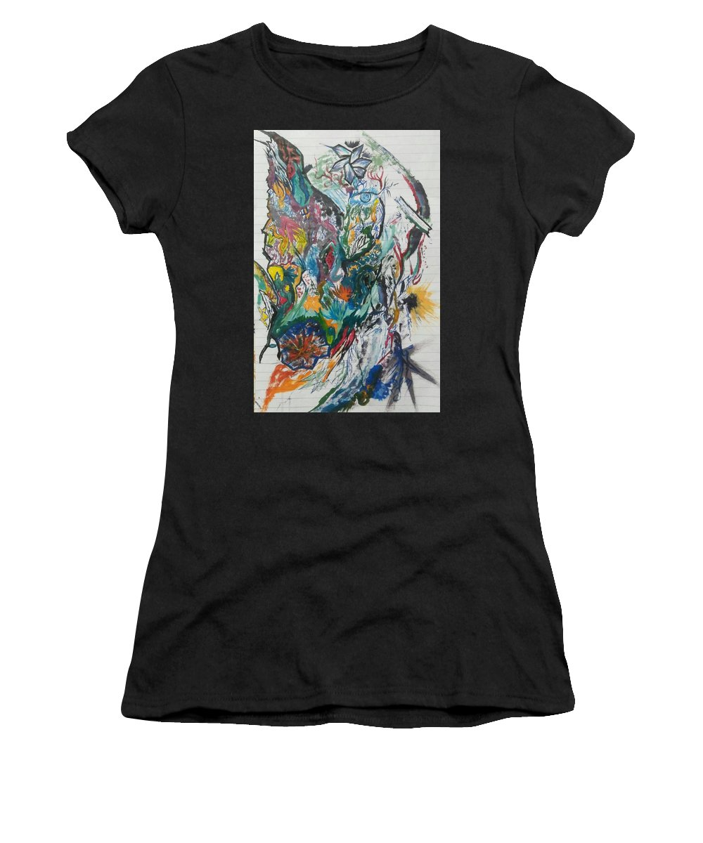 Doodle Women's T-Shirt featuring the drawing Abstract by Teesta Deshpande