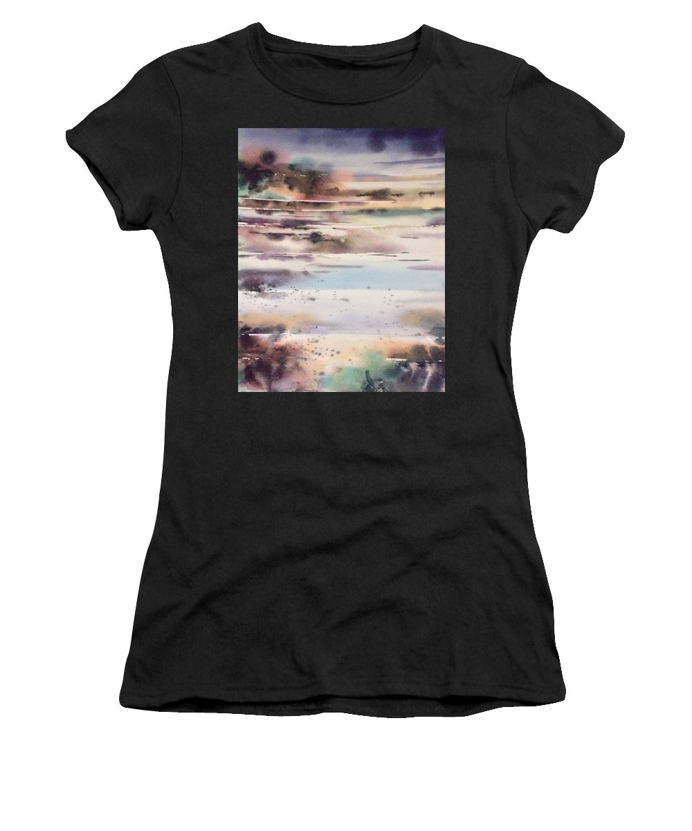 Women's T-Shirt (Athletic Fit) featuring the painting Approaching Storm by Lalit K Masih