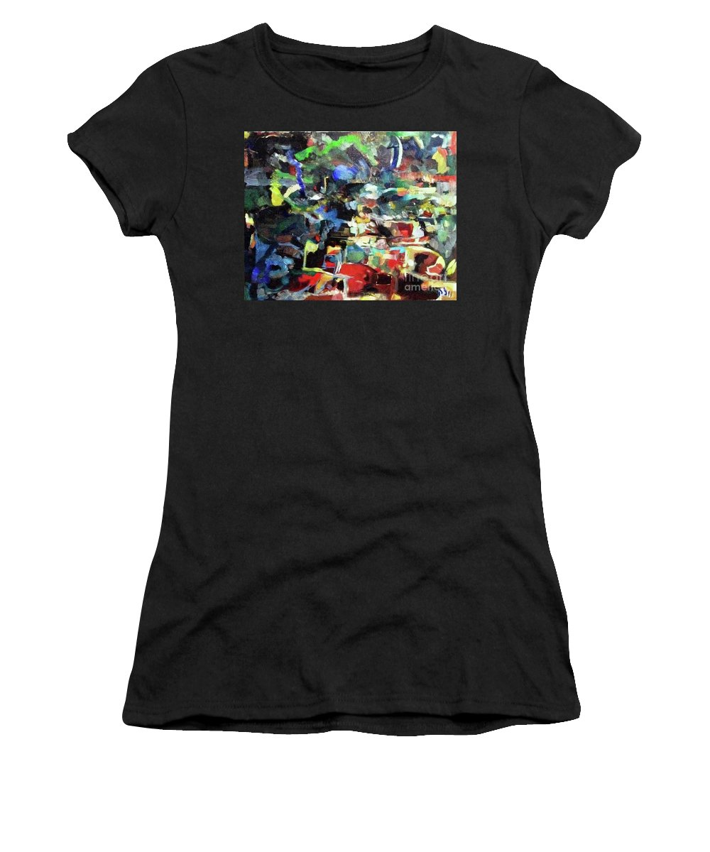 Jewish Art Women's T-Shirt featuring the painting Detained On The Way To Yerushalyim by David Baruch Wolk