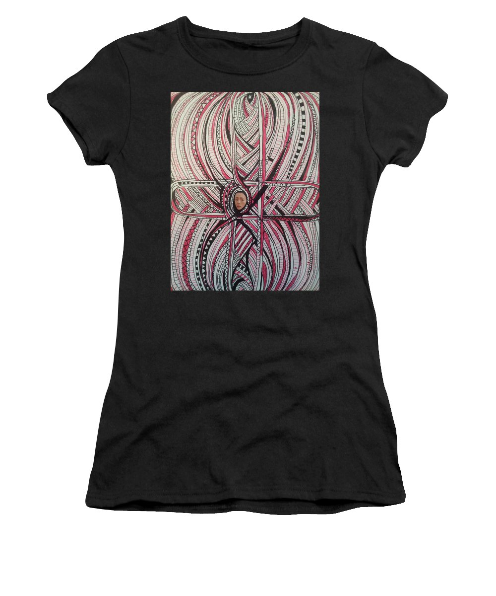Intuitive Doodling Calligraphy Expressive Geometric Shape Flower Plant Organic Design Writing Decorative Pattern Female Fluid Intersection Line Point Women's T-Shirt featuring the drawing Abstraction 3 by William Douglas