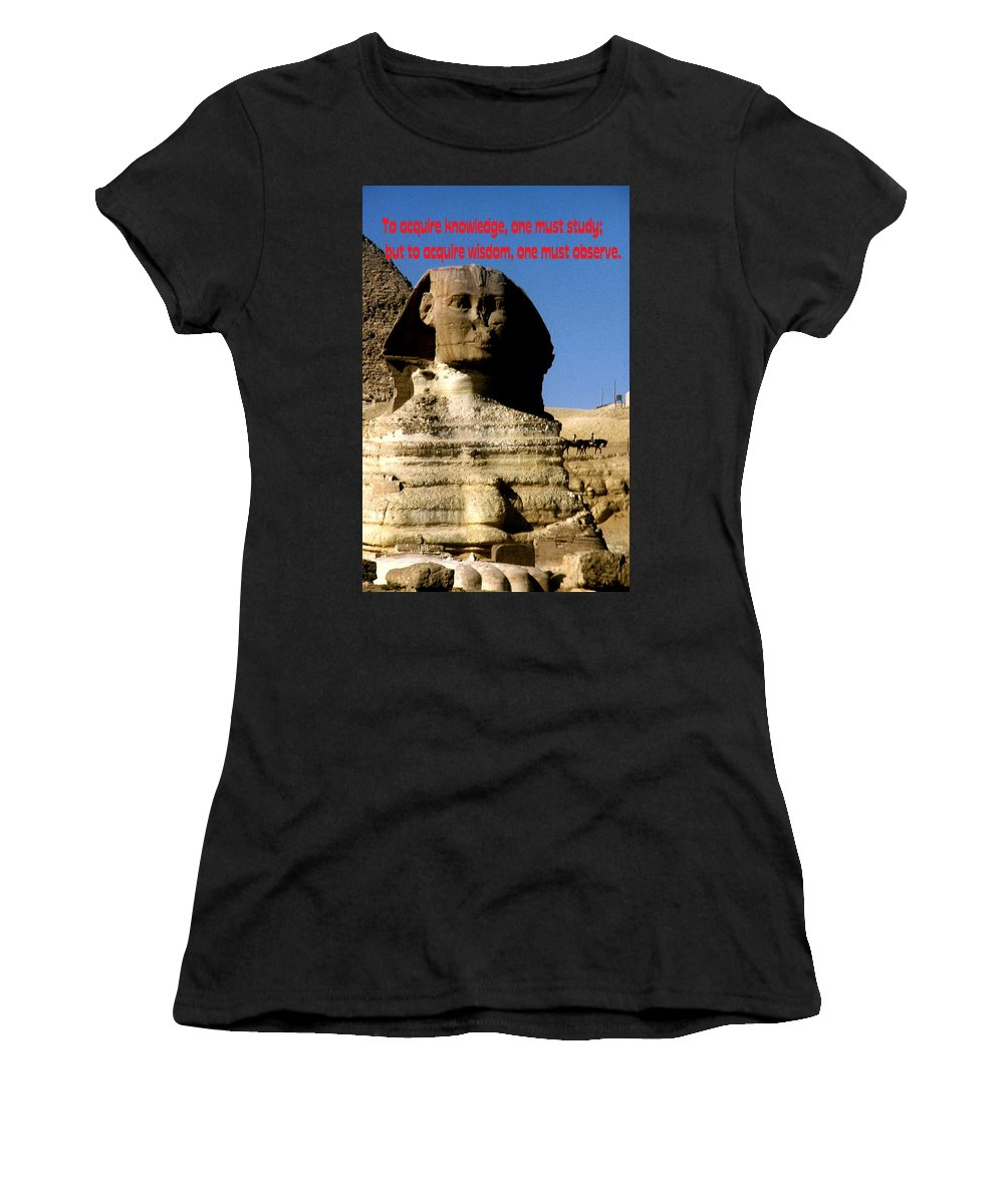Sphinx Women's T-Shirt (Athletic Fit) featuring the photograph Acquire Knowledge by Gary Wonning