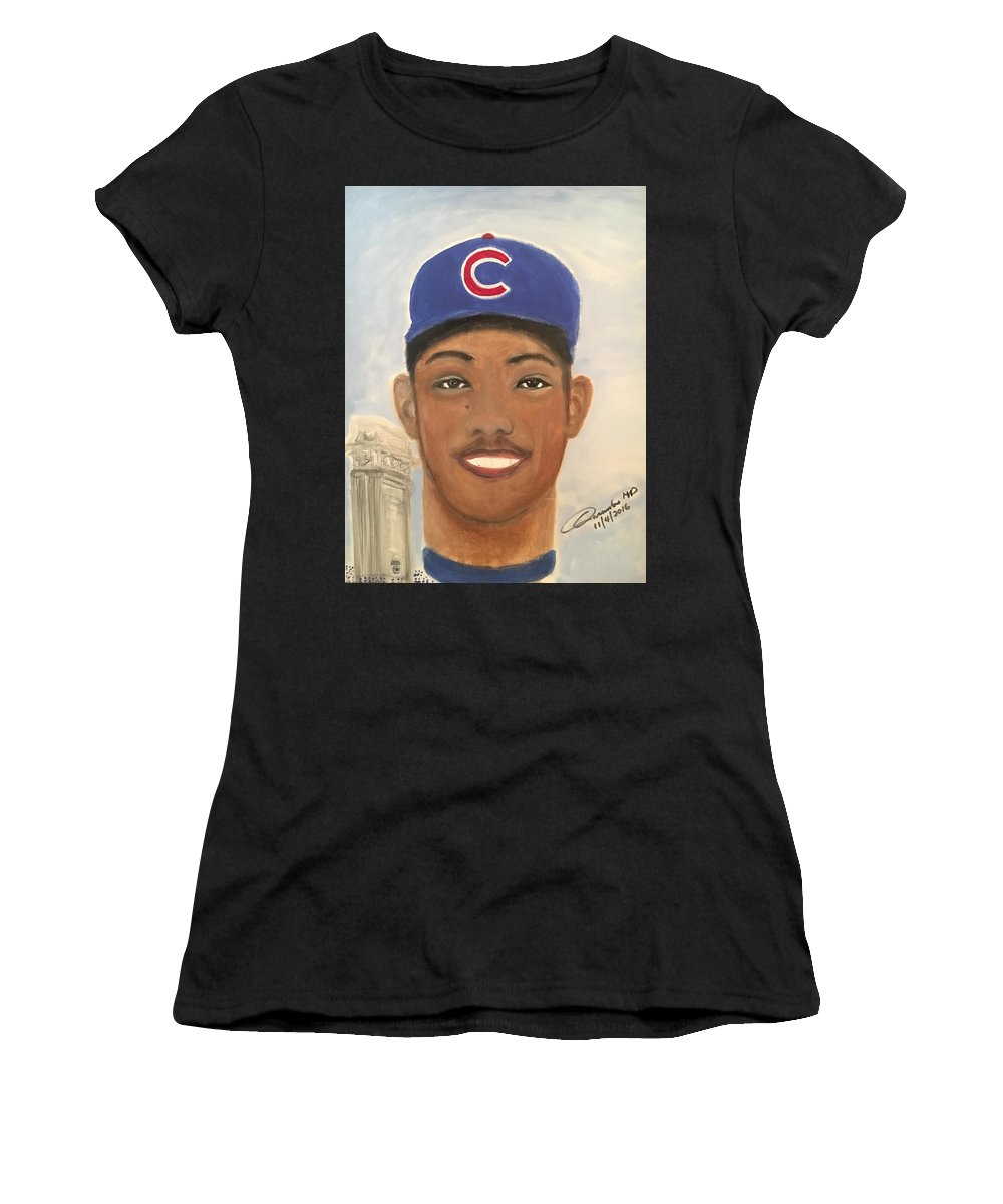 Women's T-Shirt (Athletic Fit) featuring the painting Addison Russell by Cleofe Casambre