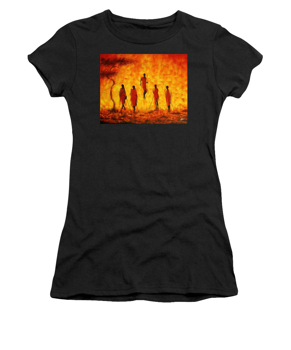 Abstract Women's T-Shirt featuring the painting Adumu by Anoop Velayudhan