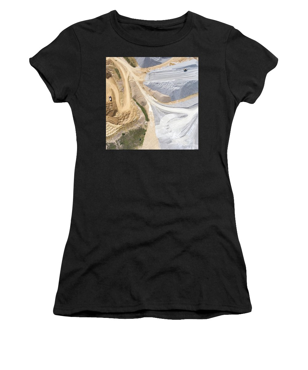Above Women's T-Shirt (Athletic Fit) featuring the photograph Aerial View Over The Building Materials Processing Factory. by Mariusz Prusaczyk