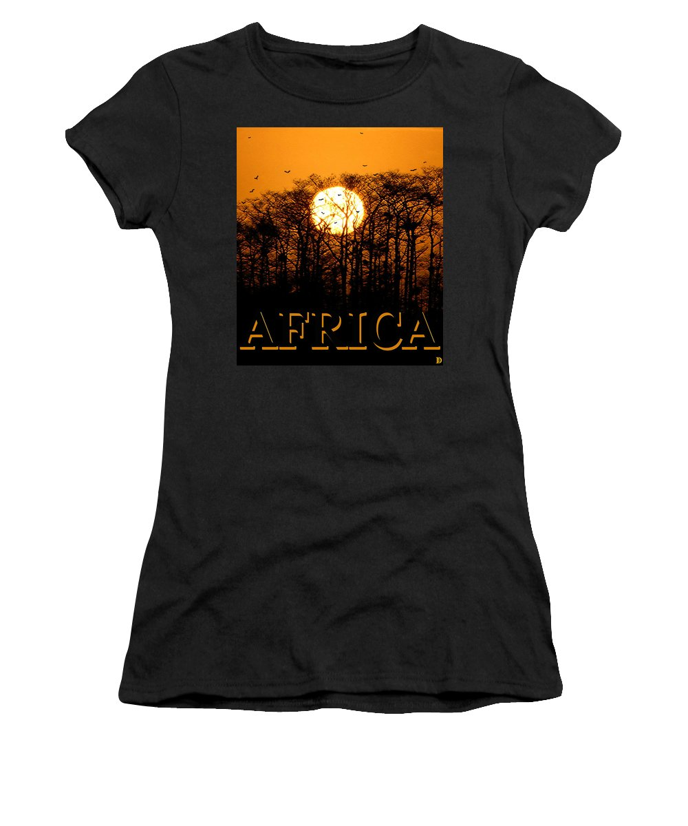 Africa Women's T-Shirt (Athletic Fit) featuring the painting Africa Smart Phone Work A by David Lee Thompson