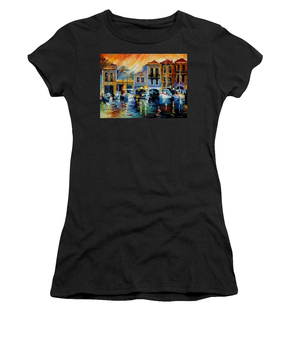 Afremov Women's T-Shirt (Athletic Fit) featuring the painting After A Day's Work by Leonid Afremov