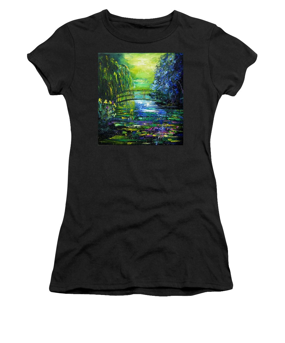 Pond Women's T-Shirt (Athletic Fit) featuring the painting After Monet by Pol Ledent
