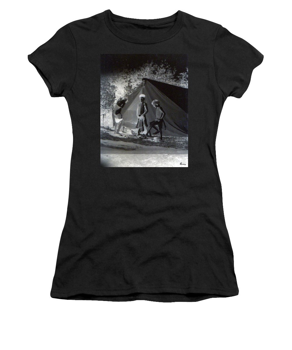 Boys Swimming Camping Tent Nature Clothes Classic 1950s Women's T-Shirt featuring the photograph After Swimming by Andrea Lawrence