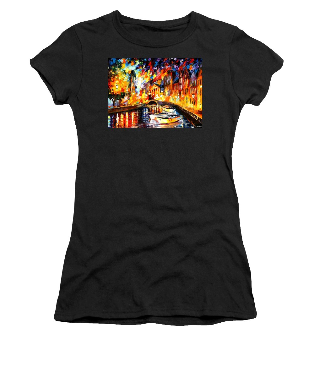 Afremov Women's T-Shirt (Athletic Fit) featuring the painting After The River Turns by Leonid Afremov
