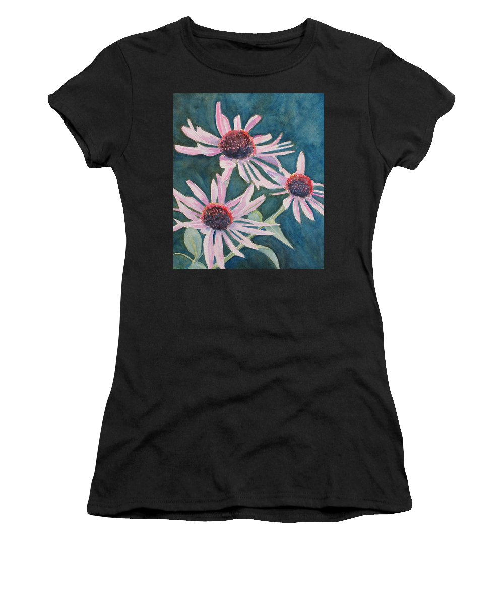 Coneflowers Women's T-Shirt (Athletic Fit) featuring the painting Afterglow II by Jenny Armitage