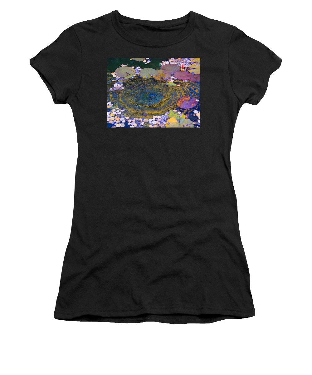Lily Pond Women's T-Shirt (Athletic Fit) featuring the photograph Agape Gardens Autumn Waterfeature by Anastasia Savage Ealy